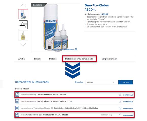 So finden Sie die Sicherheitsdatenblätter einzelner Produkte.