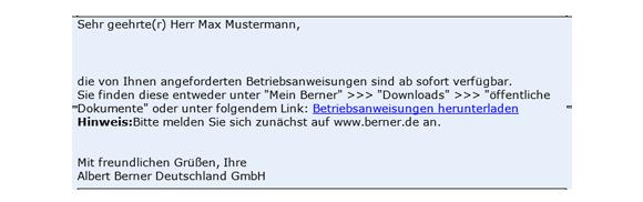 E-Mail Betriebsanweisungen