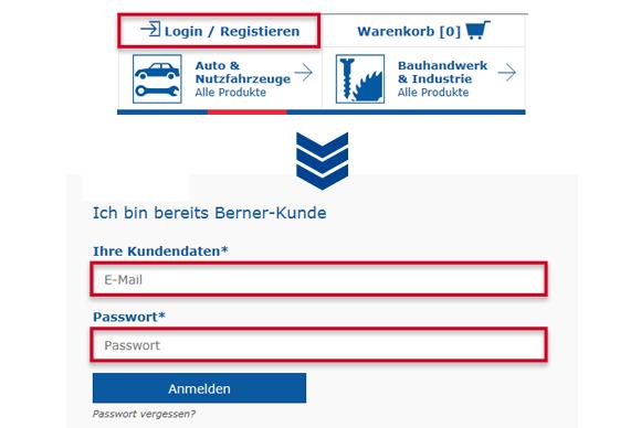 So loggen Sie sich erfolgreich im Berner Onlineshop ein.